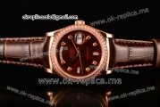 Rolex Day-Date Asia 2813 Automatic Rose Gold Case with Brown Dial Diamonds Markers Diamonds Bezel and Brown Leather Strap (BP)