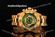 Invicta Orignial Excursion Chrono Swiss Ronda 5040 D Quartz Full Yellow Gold with Green Dial and Arabic Numeral Markers