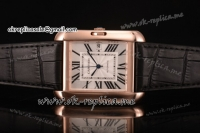 Cartier Tank Anglaise Miyota 9015 Automatic Rose Gold Case with Silver Dial Roman Numeral Markers and Black Leather Strap
