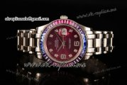Rolex Datejust Pearlmaster Swiss ETA 2836 Automatic Steel Case with Purple Dial Diamonds Markers and Diamonds Bezel (BP)