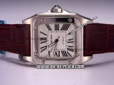 Cartier Santos 100 Automatic Movement Silver Case with White Dial and Roman Markers-Brown Leather Strap