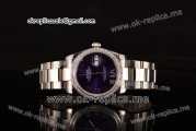 Rolex Datejust Asia 2813 Automatic Full Steel with Purple Dial Diamonds Bezel and Roman Markers (BP)