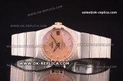 Omega Constellation Asia 2813 Automatic Two Tone with Salmon Dial and Diamond Markers - Diamond Bezel
