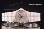 Omega Constellation Asia 2813 Automatic Two Tone with Silver Dial and Rose Gold Markers - Diamond Bezel