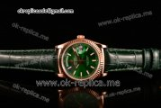Rolex Day-Date Asia 2813 Automatic Rose Gold Case with Green Dial Stick Markers and Green Leather Strap (BP)