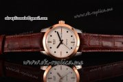 Mido Commander Miyota Quartz Steel Case with White Dial Rose Gold Bezel and Brown Leather Strap