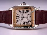 Cartier Santos 100 Automatic Movement Two Tone Case with White Dial and Roman Markers-Brown Leather Strap
