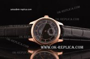IWC Portuguese Vintage Swiss ETA 2836 Automatic Rose Gold Case with Black Dial and Stick/Numeral Markers