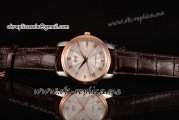 Mido Dorada Miyota Quartz Steel Case with Silver Dial Rose Gold Bezel and Brown Leather Strap