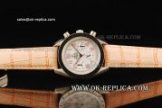 Omega Speedmaster Automatic Movement Steel Case with White Dial and Orange Leather Strap - Pink Numeral Markers