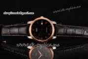 Mido Dorada Miyota Quartz Steel Case with Black Dial Rose Gold Bezel and Black Leather Strap