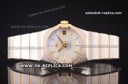 Omega Constellation Asia 2813 Automatic Two Tone with White MOP Dial and Yellow Gold Markers - Diamond Bezel