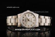 Rolex Datejust Automatic Movement Full Steel with Engraved Bezel and Diamond Markers