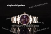 Rolex Datejust Asia 2813 Automatic Steel Case with Purple Dial Diamonds Bezel and Steel Strap (BP)