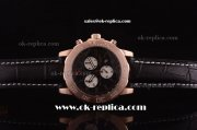 Breitling Colt Chronograph II Miyota Quartz Rose Gold Case with Black Dial and Black Leather Strap