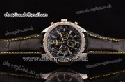 Breitling Bentley Barnato Chrono Miyota OS20 Quartz Steel Case Stick/Numeral Markers Three Yellow Subdials and Leather Strap