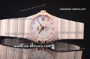 Omega Constellation Asia 2813 Automatic Two Tone with White MOP Dial and Diamond Markers - Diamond Bezel