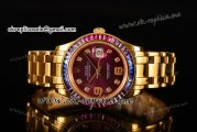 Rolex Datejust Pearlmaster Asia 2813 Automatic Yellow Gold Case with Purple Dial Diamonds Markers and Diamonds Bezel (BP)