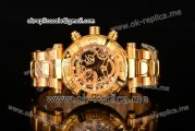 Invicta Orignial Excursion Chrono Swiss Ronda 5040 D Quartz Full Yellow Gold with Skeleton Dial and Dot Markers