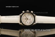 Omega Speedmaster Automatic Movement White Dial with Numeral Markers and White Leather Strap