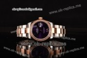 Rolex Datejust Asia 2813 Automatic Two Tone Case with Purple Dial Diamonds Bezel and Roman Markers (BP)