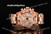 Invicta Orignial Excursion Chrono Swiss Ronda 5040 D Quartz Full Rose Gold with Silver Dial and Arabic Numeral Markers