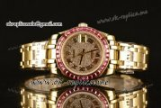Rolex Datejust Pearlmaster 39mm Asia Automatic Yellow Gold Case with Diamond Dial and Pink Sapphire Bezel