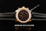 Breitling Bentley Automatic Movement Rose Gold Case with Honeycomb Bezel and Black Dial - Black Leather Strap