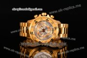 Invicta Orignial Excursion Chrono Swiss Ronda 5040 D Quartz Full Yellow Gold with Silver Dial and Arabic Numeral Markers