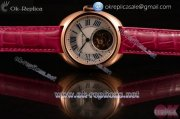 Cartier Cle de Cartier Swiss Tourbillon Manual Winding Rose Gold Case with White Dial Roman Numeral Markers and Pink Leather Strap
