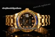 Rolex Datejust Pearlmaster Asia 2813 Automatic Yellow Gold Case with Black Dial Diamonds Markers and Diamonds Bezel (BP)