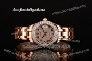 Rolex Datejust Pearlmaster Asia 2813 Automatic Rose Gold Case with Diamonds Dial and Diamonds Bezel (BP)