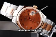 Rolex Datejust Automatic Movement ETA Case with Rose Gold Dial and Bezel-Numeral Marker