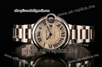 Cartier Ballon Bleu Medium Swiss ETA 2671 Automatic Full Steel with Silver Dial and Roman Numeral Markers