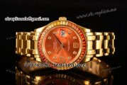 Rolex Datejust Pearlmaster Swiss ETA 2836 Automatic Yellow Gold Case with Orange Dial Diamonds Markers and Diamonds Bezel (BP)