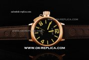 U-Boat IFO Left Hook Automatic Movement Rose Gold Case with Black Dial and Yellow Markers-Brown Leather Strap