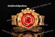 Invicta Orignial Excursion Chrono Swiss Ronda 5040 D Quartz Full Yellow Gold with Red Dial and Arabic Numeral Markers