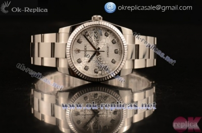 Rolex Datejust Clone Rolex 3135 Automatic Steel Case White Dial Stainless Steel Bracelet Diamonds Markers - 1:1 Original (MARK F)