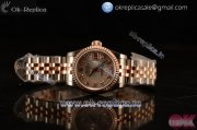 Rolex Oyster Perpetual Lady Datejust Swiss ETA 2671 Automatic 904 Steel/14K Rose Gold Case With White Dial Diamonds Markers and Rose Gold Bracelet (BP)