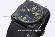 Bell&Ross BR 03-92 Limited Edition Automatic Movement PVD Case with Black Dial and Yellow Marker