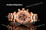 Invicta Orignial Excursion Chrono Swiss Ronda 5040 D Quartz Full Rose Gold with Skeleton Dial and Dot Markers