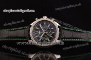 Breitling Bentley Barnato Chrono Miyota OS20 Quartz Steel Case Stick/Numeral Markers Three Green Subdials and Leather Strap