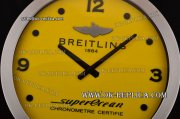 Breitling SuperOcean Style Wall Clock Swiss Quartz Steel Case with Yellow Dial