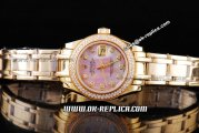 Rolex Datejust Automatic Movement Gold ETA Case with Pink Dial and Diamond Bezel-Marking-Lady Size