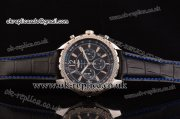 Breitling Bentley Barnato Chrono Miyota OS20 Quartz Steel Case Stick/Numeral Markers Three Blue Subdials and Leather Strap