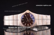 Omega Constellation Asia 2813 Automatic Two Tone with Brown Dial and Rose Gold Markers - Diamond Bezel