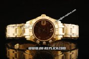 Rolex Datejust Oyster Perpetual Swiss ETA 2836 Automatic Movement Full Gold with Brown Dial and Roman Markers