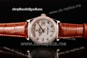 Rolex Day-Date Asia 2813 Automatic Steel Case with White Dial Diamonds Markers Diamonds Bezel and Brown Leather Strap (BP)