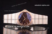 Omega Constellation Asia 2813 Automatic Two Tone with Brown Supernova Motif Dial and Diamond Markers - Rose Gold Bezel