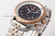 Breitling Bentley Automatic Movement with Rose Gold Case and Black Dial-Two Tone Strap